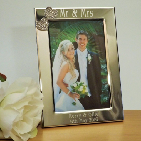 Mr & Mrs Photo Frame Silver Diamante Hearts Personalised Wedding Gift
